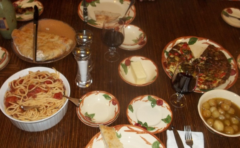 Italian meal with ciabatta